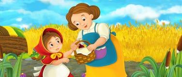 Kreskówki szczęśliwa rolna scena z córką i matką na rolnym polu ilustracja wektor