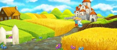 Kreskówki szczęśliwa rolna scena z kasztelem w tle Obraz Stock