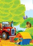 Kreskówki szczęśliwego i śmiesznego gospodarstwa rolnego scena z ciągnikiem - samochód dla różnych zadań Obrazy Stock