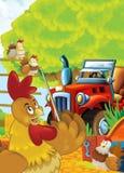 Kreskówki szczęśliwego i śmiesznego gospodarstwa rolnego scena z ciągnikiem - samochód dla różnych zadań Fotografia Royalty Free