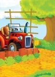 Kreskówki szczęśliwego i śmiesznego gospodarstwa rolnego scena z ciągnikiem - samochód dla różnych zadań Zdjęcie Stock