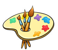 Kreskówki sztuki muśnięcia i paleta Obrazy Stock