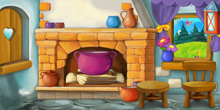 Kreskówki tło dla bajki kuchnia - wnętrze staromodny dom - ilustracji