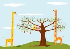 Kreskówki tło z zwierzętami i drzewem. Obrazy Royalty Free