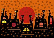 Kreskówki tło z kotami Obraz Royalty Free