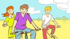 Kreskówki Trzy dzieciaków Jechać rowery Obrazy Royalty Free