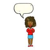 kreskówki twarda kobieta z fałdowymi rękami z mowa bąblem Zdjęcie Stock