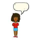 kreskówki twarda kobieta z fałdowymi rękami z mowa bąblem Zdjęcie Royalty Free