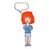 kreskówki twarda kobieta z fałdowymi rękami z mowa bąblem Obrazy Stock