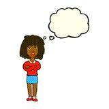 kreskówki twarda kobieta z fałdowymi rękami z myśl bąblem Obrazy Royalty Free