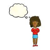 kreskówki twarda kobieta z fałdowymi rękami z myśl bąblem Zdjęcie Royalty Free