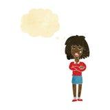 kreskówki twarda kobieta z fałdowymi rękami z myśl bąblem Obraz Stock