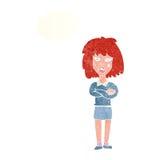kreskówki twarda kobieta z fałdowymi rękami z myśl bąblem Fotografia Royalty Free