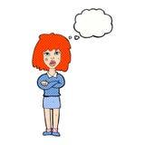kreskówki twarda kobieta z fałdowymi rękami z myśl bąblem Zdjęcia Stock