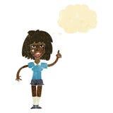 kreskówki twarda kobieta z pomysłem z myśl bąblem Fotografia Royalty Free