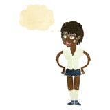 kreskówki twarda kobieta z rękami na biodrach z myśl bąblem Zdjęcia Stock