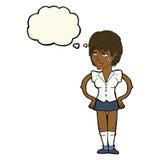 kreskówki twarda kobieta z rękami na biodrach z myśl bąblem Obraz Stock