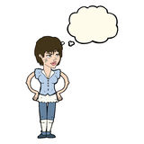 kreskówki twarda kobieta z rękami na biodrach z myśl bąblem Obrazy Stock