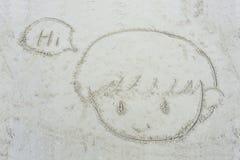 Kreskówki twarz rysująca na piasku chłopiec Obrazy Royalty Free