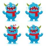 Kreskówki twarzy emocje ustawiać Wielcy Emocjonalni cyngle Śliczne potwór emocje ilustracja wektor