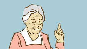 Kreskówki Uśmiechnięta Stara dama Z Podnoszącym palcem wskazującym Zdjęcia Royalty Free