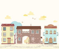 Kreskówki ulica z domami, chmury, drzewa Obrazy Stock