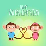 Kreskówki valentine karta z małpią parą royalty ilustracja