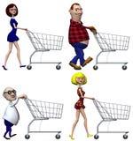 kreskówki wózków nabywców na zakupy royalty ilustracja