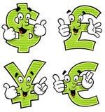 Kreskówki waluty symbole Zdjęcia Royalty Free