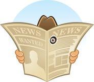 Kreskówki Wektorowa ilustracja sekretu szpiega detektyw chujący za gazetą Zdjęcie Stock