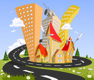Kreskówki wektorowy miasto - lato Obrazy Royalty Free