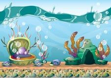 Kreskówki wektorowy podwodny tło z oddzielonymi warstwami dla gemowej sztuki i animaci ilustracji