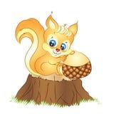 Kreskówki wiewiórka z Acorn Wektorowy Ilustracyjny Clipart Obraz Royalty Free