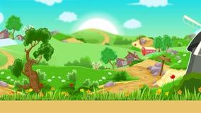 Kreskówki wioski ruchu animacji tło royalty ilustracja