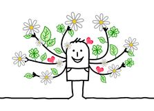 Kreskówki wiosny mężczyzna z kwiecenie rękami royalty ilustracja