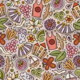Kreskówki wiosny sezonu śliczna ręka rysujący bezszwowy wzór Zdjęcie Royalty Free