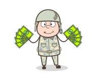 Kreskówki wojska mężczyzna Pokazuje pieniądze wektoru ilustrację ilustracji