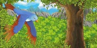 Kreskówki wróbli latanie w lesie royalty ilustracja