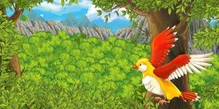 Kreskówki wróbli latanie w lesie ilustracji
