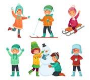 Kreskówki zimy dzieciaki Dziecko sztuka w zima wakacje sledding bałwanu i robi, Children charakterów wektoru set ilustracji