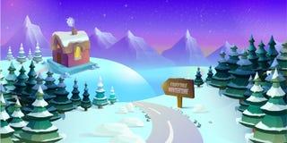 Kreskówki zimy krajobraz z lodu, śnieżnego i chmurnego niebem, Bezszwowy wektorowy natury tło dla gier ilustracja Obraz Royalty Free