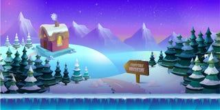 Kreskówki zimy krajobraz z lodu, śnieżnego i chmurnego niebem, wektorowy natury tło dla gier Fotografia Stock