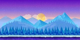 Kreskówki zimy krajobraz z lodu, śnieżnego i chmurnego niebem, wektorowy natury tło dla gier Obraz Royalty Free