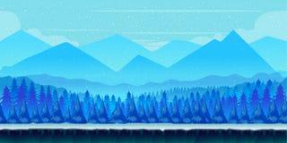 Kreskówki zimy krajobraz z lodu, śnieżnego i chmurnego niebem, wektorowy natury tło dla gier Zdjęcie Royalty Free