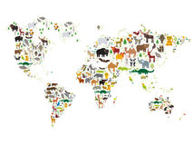 Kreskówki zwierzęca światowa mapa dla dzieci i dzieciaków, zwierzęta po całym od światu na białym tle wektor ilustracji