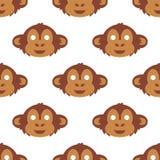 Kreskówki zwierzęcia małpy przyjęcia masek ilustraci przyjęcia wektorowej wakacyjnej zabawy bezszwowy deseniowy tło royalty ilustracja