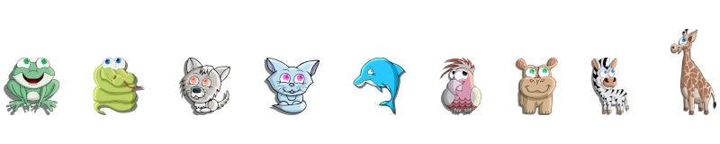 Kreskówki zwierzęcia paczka Wizerunki zwierzęta w dzieciach stylowych Odosobneni kształty na białym tle ilustracja wektor
