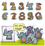 Kreskówki zwierzę liczba Cztery Fotografia Stock