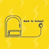 Kreskowa ikona Z powrotem szkoła zdjęcia royalty free