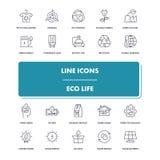 Kreskowe ikony ustawiać Eco życie Zdjęcie Royalty Free